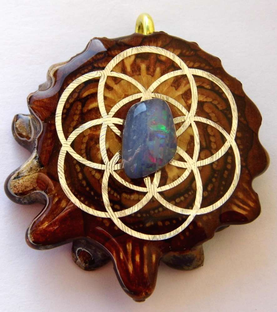 "Third Eye Pinecones - 2"" Australian Blue Opal w/The Seed of Life Pendant - Handcrafted from the Knobcone Pinecone"
