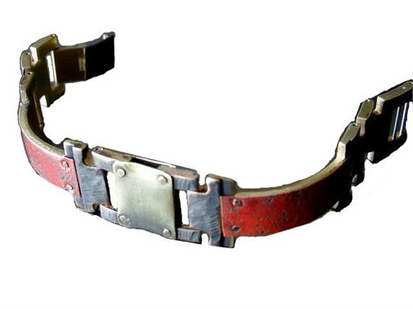 Copper Concrete Engraving Design WatchCraft (R) Handmade Bracelet (B35) - DISCONTINUED