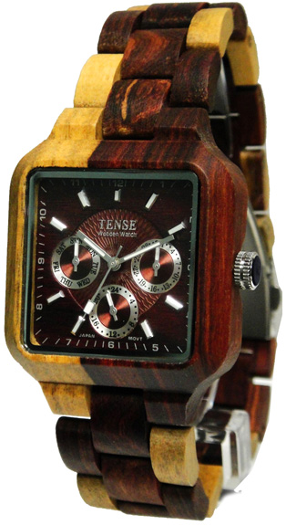 Tense Wooden Watch - Men's Square Multi-function Dual-tone Sandalwood Watch