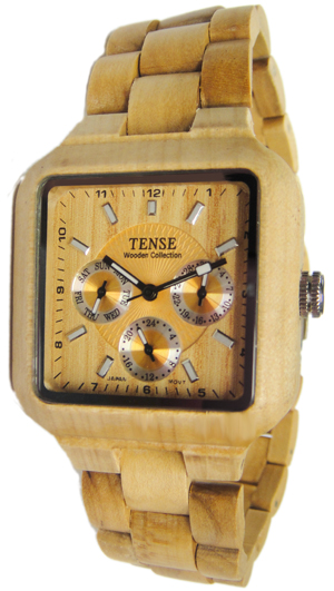 Tense Wooden Watch - Men's Square Multi-function Maplewood Watch