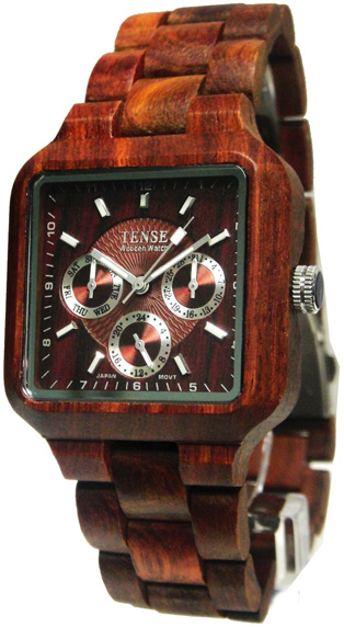 Tense Wooden Watch - Men's Square Multi-function Sandalwood Watch - DISCONTINUED