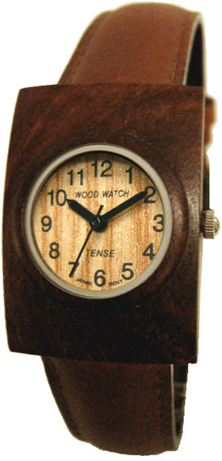 Tense Wooden Watch - Unisex Dark Sandalwood Rectangular Leather Band Watch - DISCONTINUED
