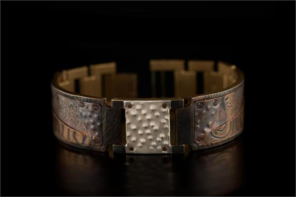 Copper Concrete Design on Wide Band WatchCraft (R) Handmade Bracelet (B82)