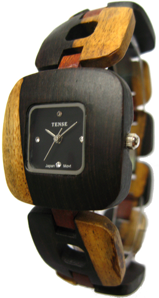 Tense Wooden Watch - Women's Retro Dark Dual-tone/ Sandalwood Watch - DISCONTINUED