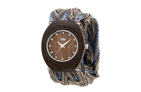WeWood Wooden Watch - Belle Chocolate with Adjustable Cloth Bands - NEW!
