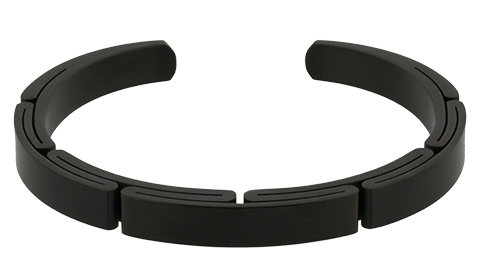 Q Ray - Steel Series - Black Flex Stainless Steel Cuff Bracelet (Q111)