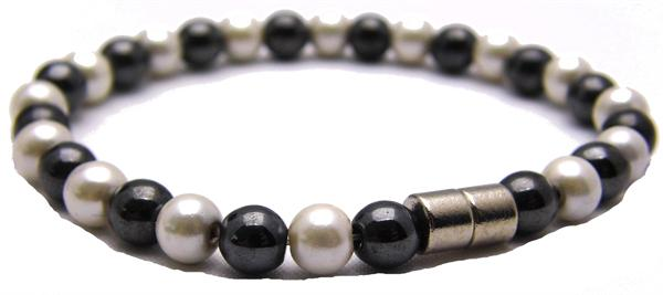 Hematite w/ Simulated Pearl Coating and Magnetic Clasp - Magnetic Therapy Bracelet