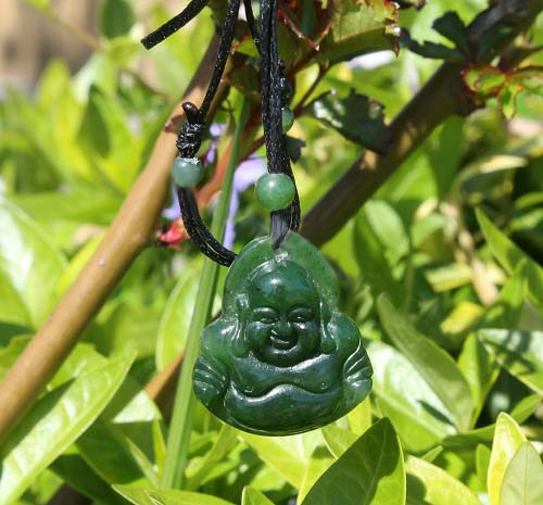 Jade Happy Buddha Pendant (HNW-3670) - DISCONTINUED