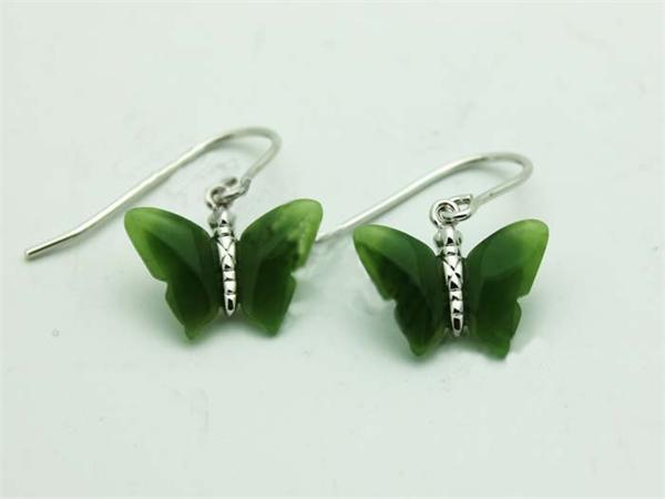 Jade & Sterling Silver Butterfly Earrings (UJKK-KH0735)