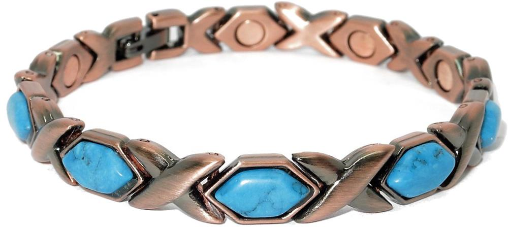 Copper (Simulated) Turquoise XOXO - Magnetic Therapy Bracelet or Anklet (CL-17)