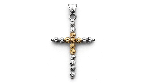 Officina Bernardi - Pendant Collection - Pink & White Cross - Italian 925 Sterling Silver