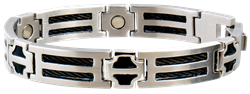Sabona Black Cable Stainless Magnetic - Men's Executive Bracelet