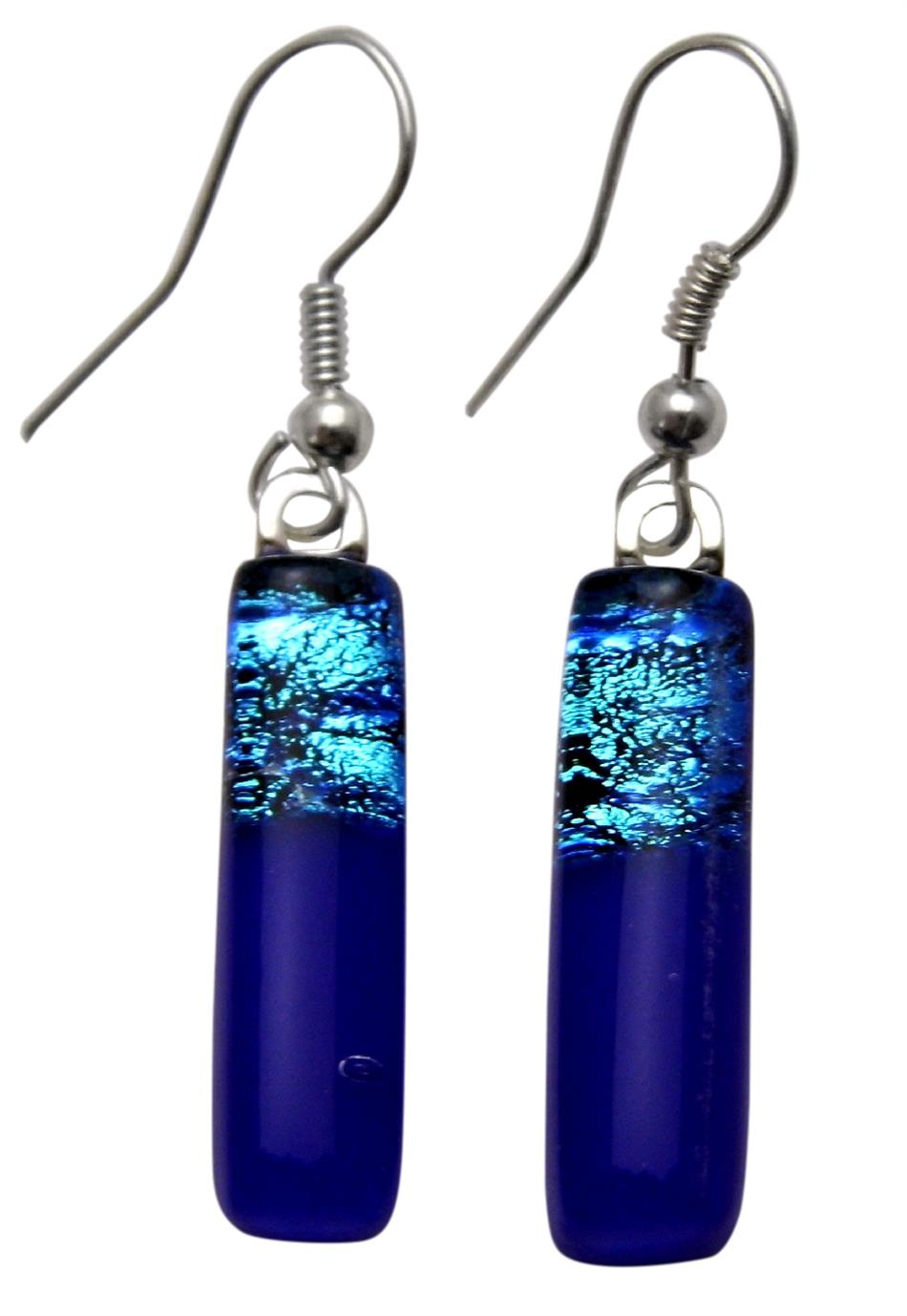 Dichroic Glass Drop Sterling Silver Earrings - Rectangle in Cobalt