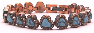 Copper Hearts - Simulated Gemstone Copper Magnetic Therapy Bracelet (HL0737AC7)