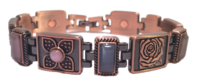 Copper Stones and Flowers - Magnetic Therapy Bracelet (CLN-4) - New!