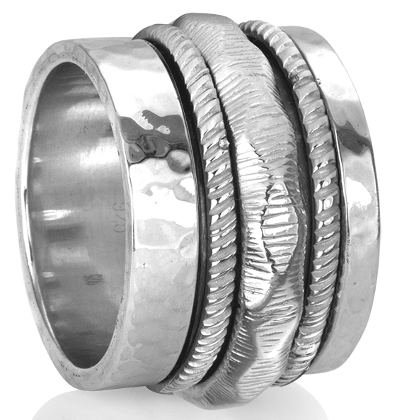 """COURAGE"" (MR629) - Silver Serenity Collection - MeditationRing (Spinner Ring)"
