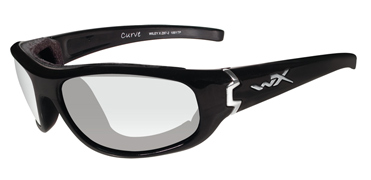 Wiley X Sunglasses - Curve Gloss Black with Clear Lens - Climate Control Series