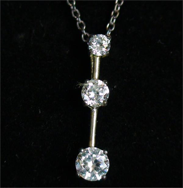 "18"" Three Stone CZ Sterling Silver Pendant - New in Box! - Vintage / Estate Collection"