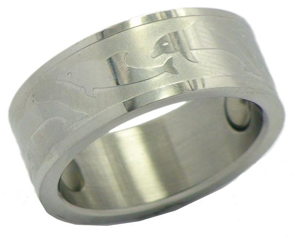 Dolphin Stainless Steel Magnetic Therapy Ring (SR5) - New!
