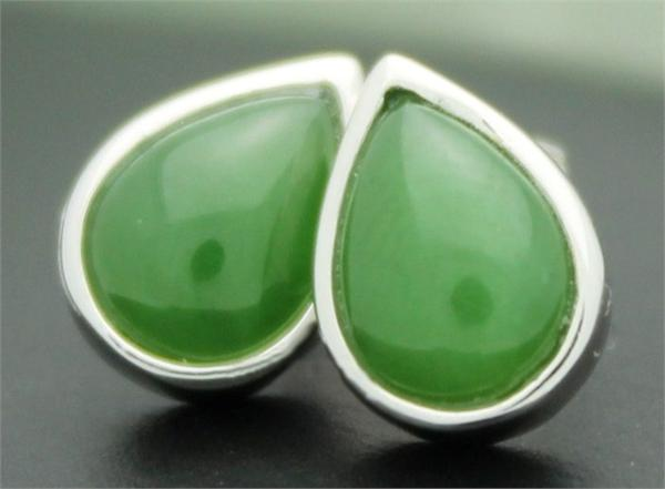 Teardrop Jade Stud Earrings (KE0760)
