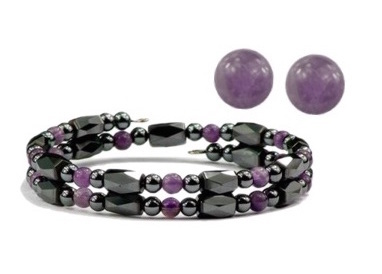 Hematite and Simulated Amethyst - Magnetic Therapy Wrap Bracelet and Earring Set
