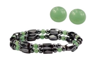 Hematite and Simulated Jade - Magnetic Therapy Wrap Bracelet and Earring Set