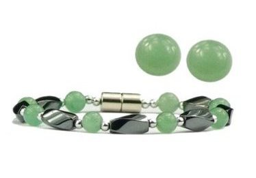 Simulated Jade and Hematite - Magnetic Clasp Bracelet and Earring Set