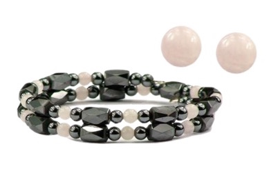 Hematite and Simulated Rose Quartz - Magnetic Therapy Wrap Bracelet and Earring Set