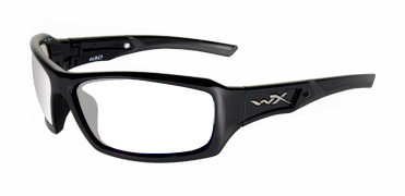 Wiley X Sunglasses - Echo Gloss Black with Clear Lens - Climate Control Series