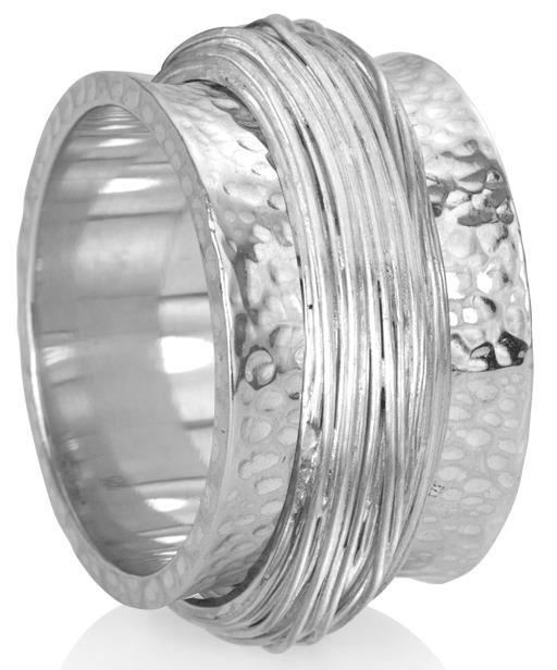 """ESSENCE"" (MR1104) - Silver Serenity Collection - MeditationRing (Spinner Ring)"