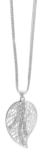 "Officina Bernardi - Foglia Collection - 18"" Leaf Necklace (4 Color Choice) - Italian 925 Sterling Silver"