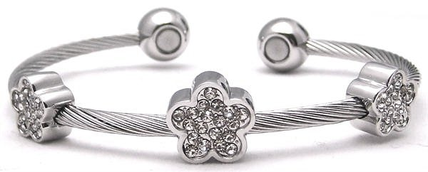 Flower Power - Stainless Steel Magnetic Therapy Cuff