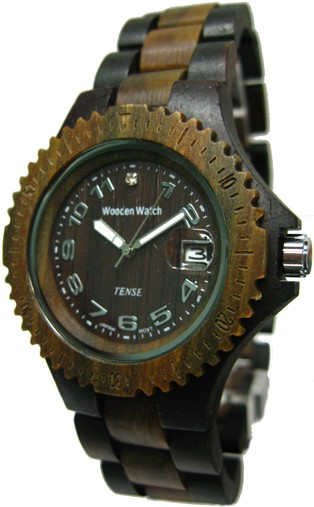 Tense Wooden Watch - Mens Dark / Green Sandalwood Sport Watch - DISCONTINUED