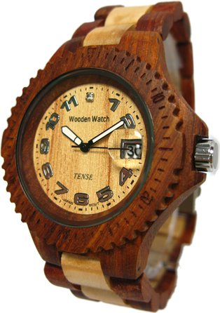 Tense Wooden Watch - Mens Sandalwood/ Maple Sport Watch - DISCONTINUED