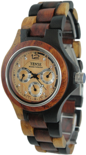 Tense Wooden Watch - Men's Round Dark Dual-tone Sandalwood/Sandalwood Multi-Function Watch - DISCONTINUED