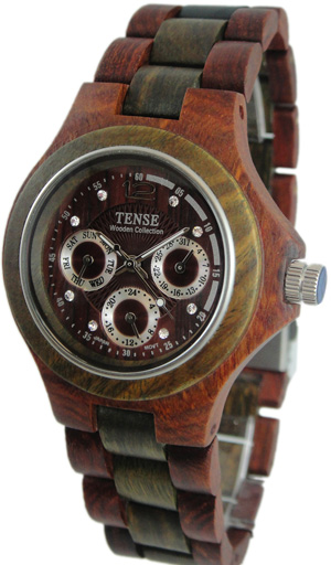Tense Wooden Watch - Mens Round Sandalwood/ Green Multi-Function Watch - DISCONTINUED