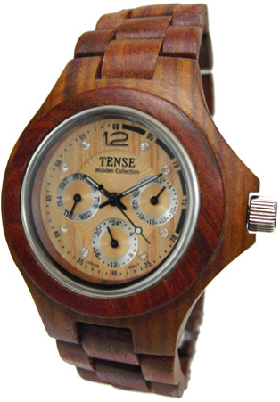 Tense Wooden Watch - Mens Round Sandalwood Multi-Function Watch G4300S - DISCONTINUED