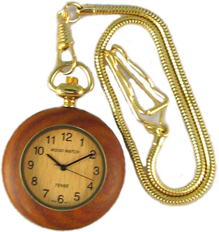 Tense Wooden Watch - Round Sandalwood Pocket Watch (Gold Accent) - DISCONTINUED