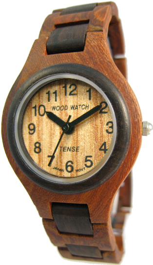 Tense Wooden Watch - Men's Sandalwood/ Dark Sandalwood Watch