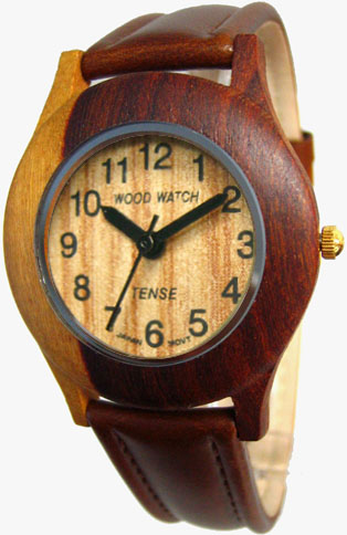 Tense Wooden Watch - Men's Dual-tone Sandalwood Leather Band Watch