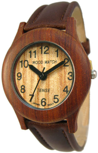 Tense Wooden Watch - Jumbo Sandalwood Leather Band Watch - DISCONTINUED