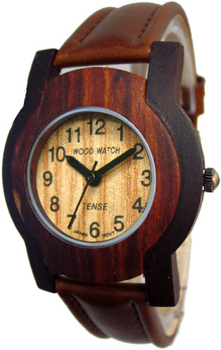 Tense Wooden Watch - Men's Dark/ Sandalwood Leather Band Watch - DISCONTINUED
