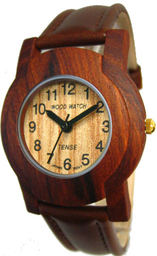 Tense Wooden Watch - Mens Sandalwood Leather Band Watch (G8006S) - DISCONTINUED