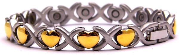 Golden Hearts - Stainless Steel Magnetic Therapy Bracelet (SSP105G)