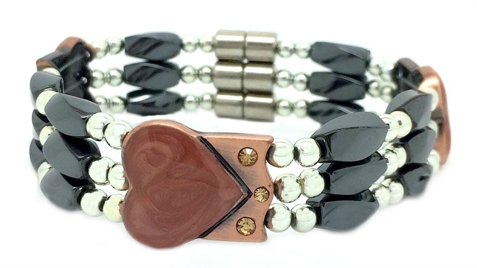 Triple Hematite Heart - Magnetic Therapy Bracelet (MHB-3H)
