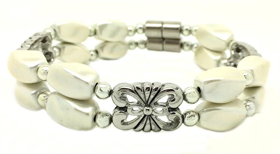 Double White Colored Hematite - Magnetic Therapy Bracelet (MHB-2W)