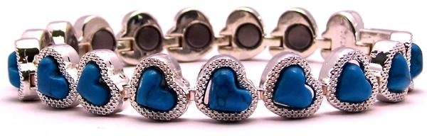Silver Plated Hearts - Simulated Gemstone Silver Plated Magnetic Therapy Bracelet (HL0737STQ7) DISCONTINUED
