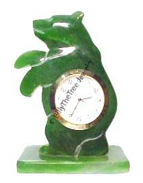 Jade Standing Bear Clock (0720-22) - DISCONTINUED