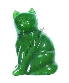 Jade Sitting Cat Figurine (HNW-147) - DISCONTINUED