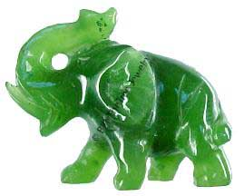 Jade Elephant With Trunk Up Figurine (HNW-151)